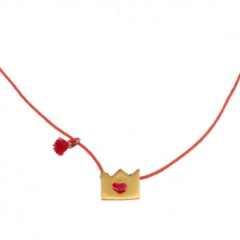 Jt Gold plated silver crown necklace with red heart