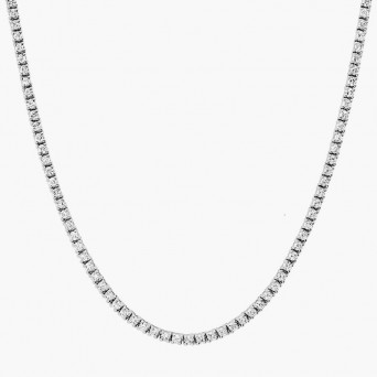 Jt Silver riviera necklace with white zirconia