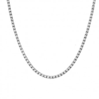 Jt Stainless steel riviera necklace with white crystals