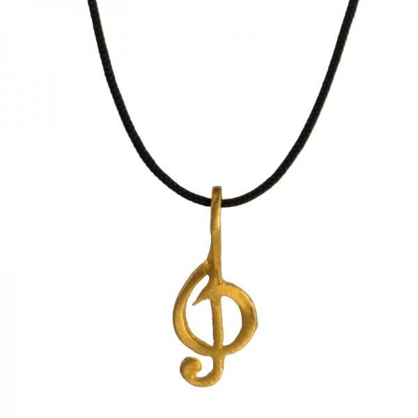 Jt Unisex Gold plated silver necklace treble clef black cord