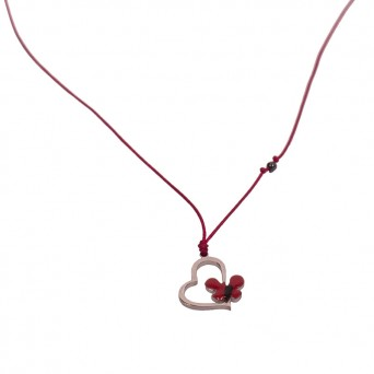 Jt Silver and steel red heart necklace