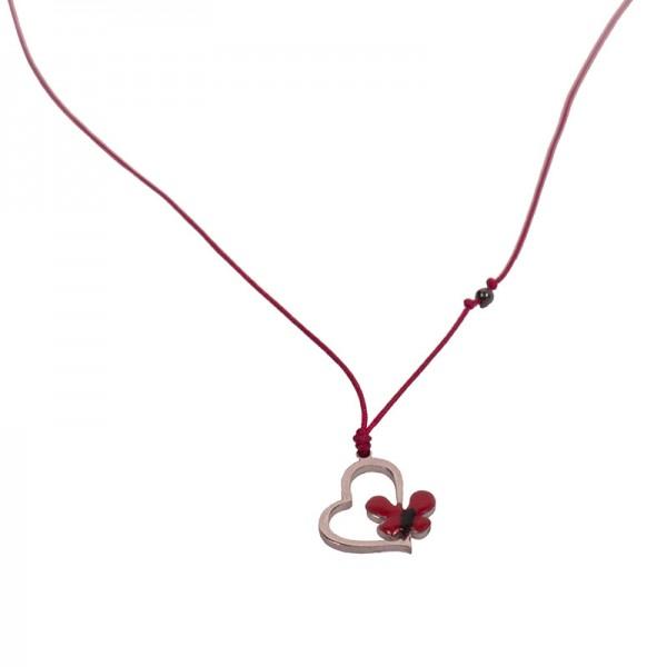 Jt Ασημένιο και ατσάλινο κολιέ καρδιά πεταλούδα