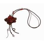 Jt Χειροποίητο μακρύ ασημένιο δερμάτινο κολιέ λουλούδι