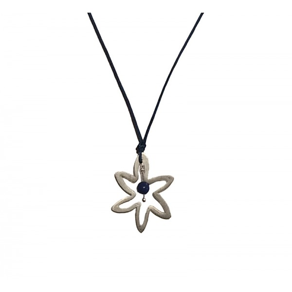 Jt Silver star necklace with lapis lazouli