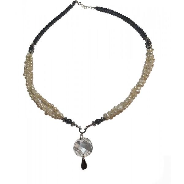 Jt Sterling Silver Round Swarovski Pearls Necklace