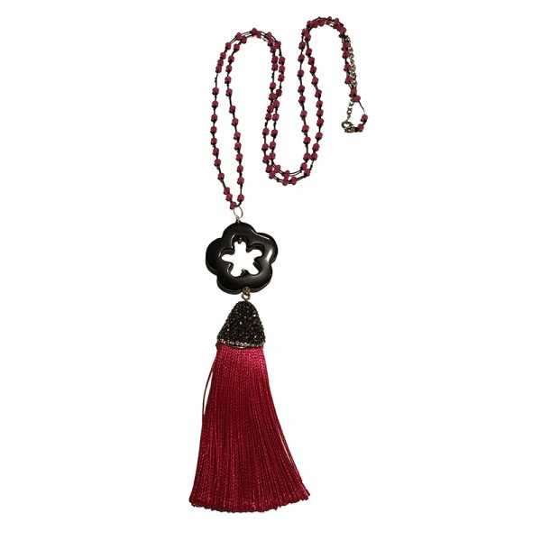 Jt Silver flower necklace with fuchsia tassel