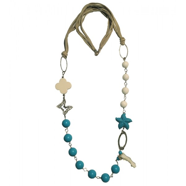 Jt Silver turquoise beaded starfish cross necklace