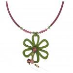 Jt Ασημένιο κολιέ πράσινο λουλούδι με ξύλο και Swarovski