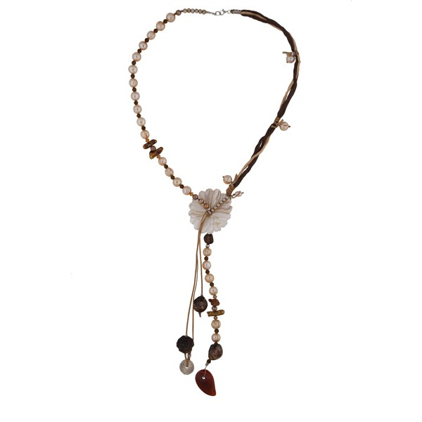 Jt Handmade silver pearls beaded flower necklace