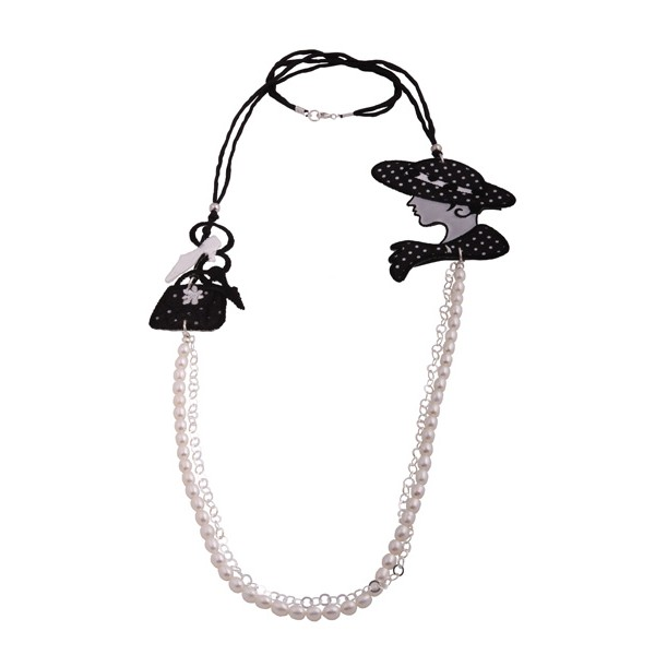 Jt Silver fresh water pearls beaded woman and hand bag necklace
