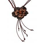 Jt Ασημένιο κολιέ καφέ λουλούδι με μαργαριτάρια