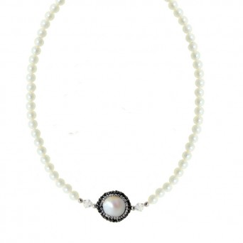 Jt Silver fresh water pearls and Swarovski round necklace