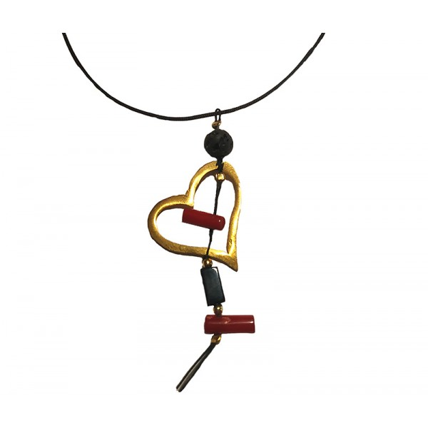 Jt Gold plated silver coral, lava and pearls necklace