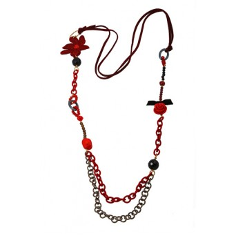 Jt Long silver red coral flower beaded necklace