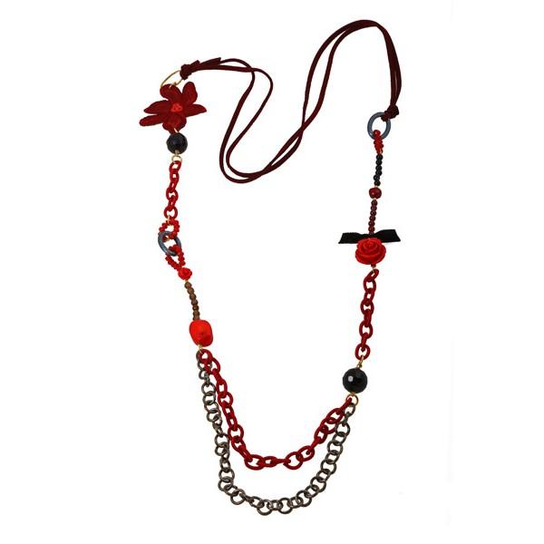 Jt Ασημένιο μακρύ κολιέ κόκκινο λουλούδι με κοράλλια