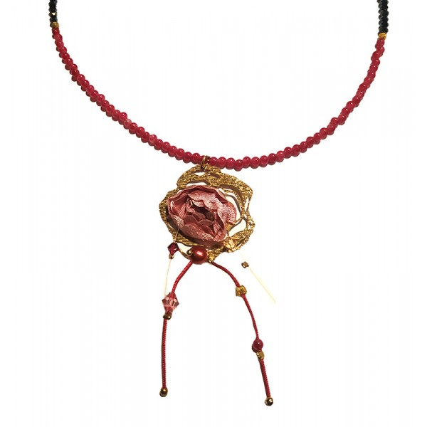 Jt Gold plated silver Swarovski and pearls flower necklace