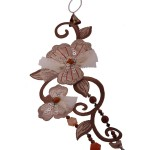 Jt Silver gems beaded flowers statement necklace