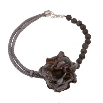 Jt Handmade silver leather flower agate beaded necklace