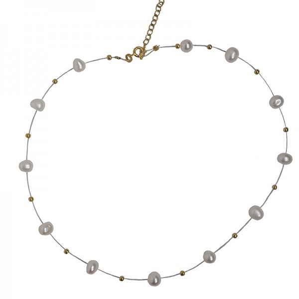 Jt Gold plated silver necklace with pearls