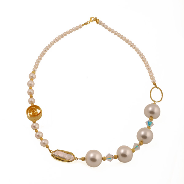 Jt Gold plated silver fresh water pearls & Swarovski necklace