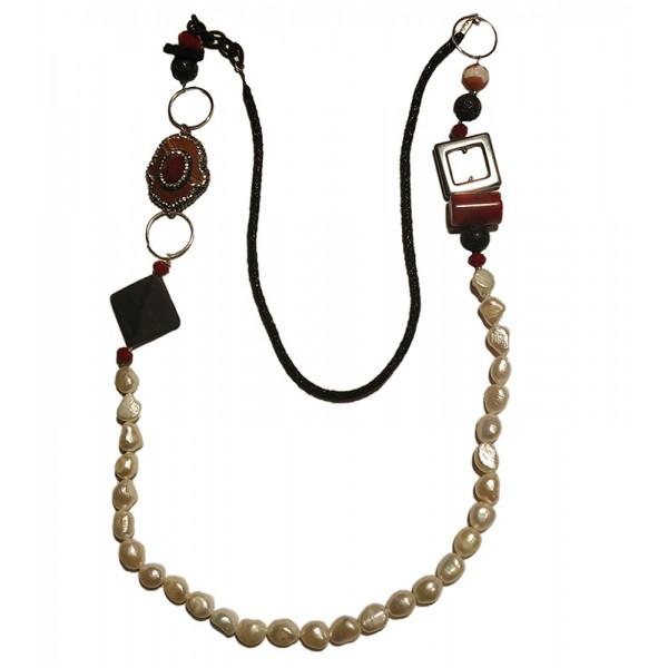 Jt Handmade silver long eye gemstones necklace