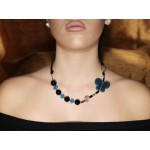 Jt Gold plated silver blue agate butterfly necklace