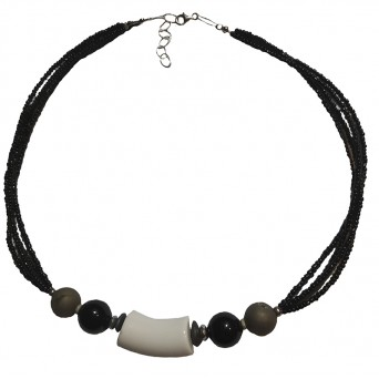 Jt Silver black and white necklace