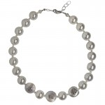 Jt Statement silver choker necklace with pearls
