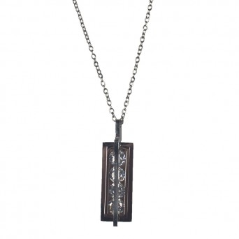 Jt Steel necklace with crystals