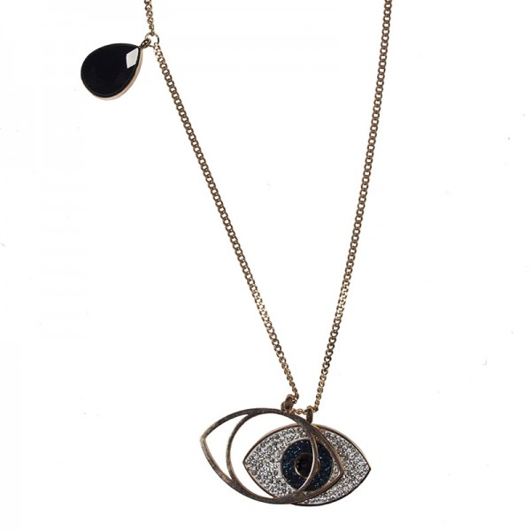 Jt Statement long steel evil eye necklace with crystals