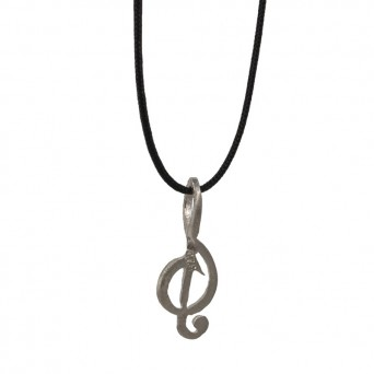 Jt Silver necklace treble clef on black cord