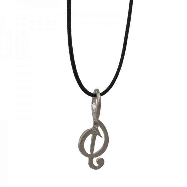 Jt Unisex silver necklace treble clef on black cord