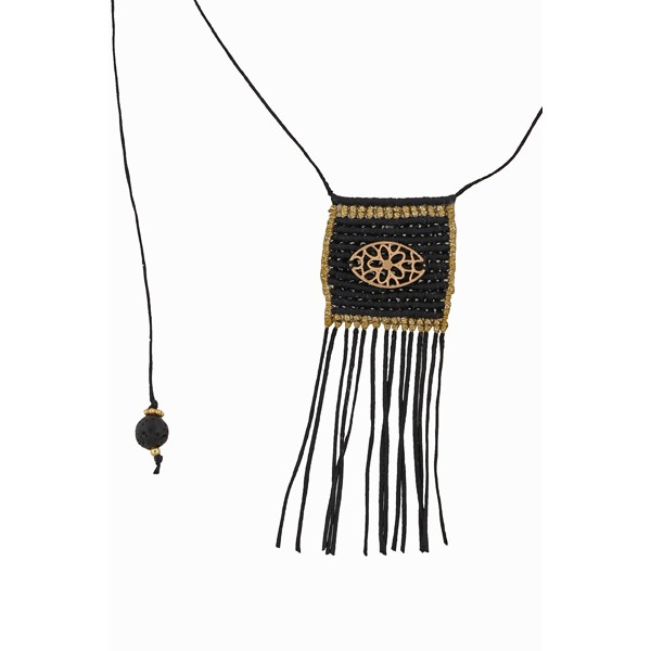 Jt Black & golden silver boho knitted necklace - 2 in 1