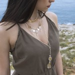 Jt Gold plated boho necklace with beads, coins and seashells