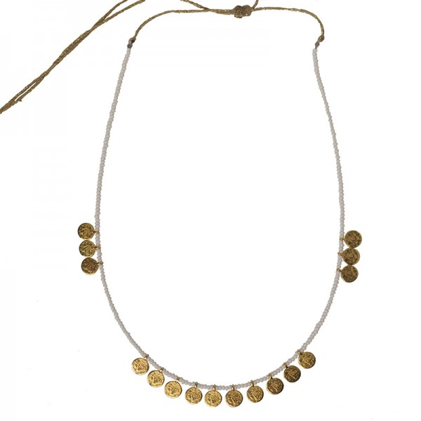 Jt Bronze boho necklace with beads and coins