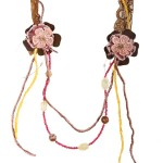 Jt Long lace silver flower necklace with gemstones