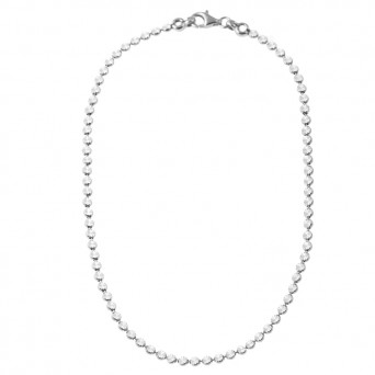 Jt Sterling silver diamond cut chain necklace