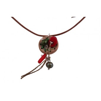Jt Silver necklace with cork button, coral and fresh water pearl