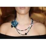 Jt Ασημένιο κολιέ μπλε λουλούδι με αχάτη, όνυχα, Swarovski