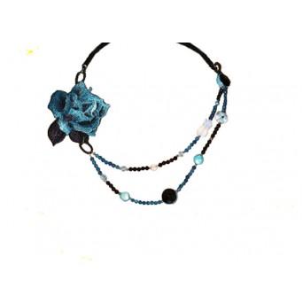 Jt Silver blue flower beaded Swarovski necklace