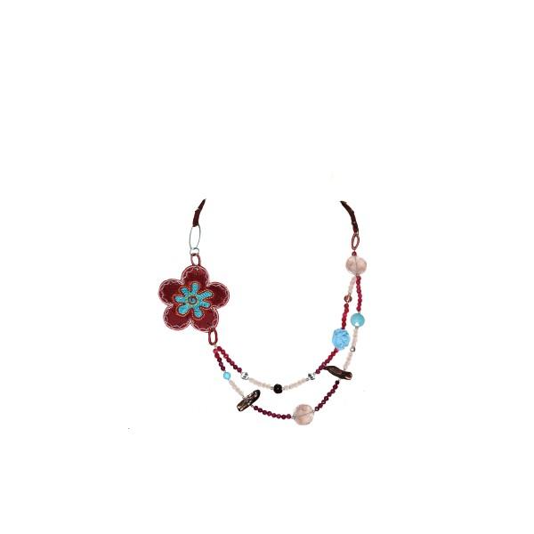 Jt Ασημένιο κολιέ ροζ λουλούδι με αχάτη, χαλαζία, αμέθυστο