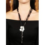 Jt Mother of pearl white flower silver necklace