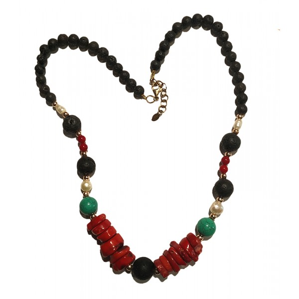 Jt Gold plated silver coral, turquoise, lava and pearls necklace