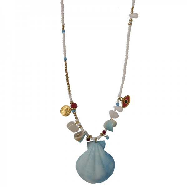 Jt Bronze necklace 'seashell' with beads