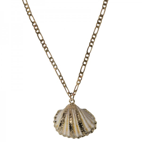 Jt Gold plated bronze necklace with big seashell