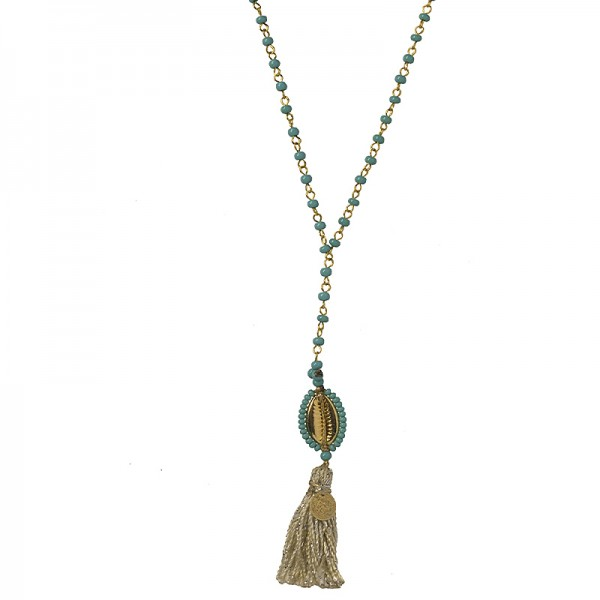 Jt Gold plated bronze seashell necklace with turquoise beads