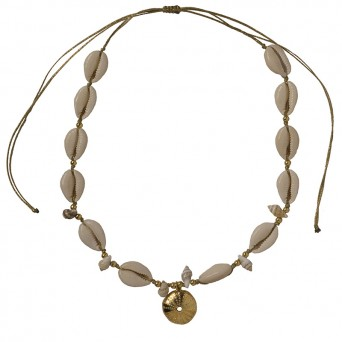 Jt Gold plated bronze urchin with white seashells necklace