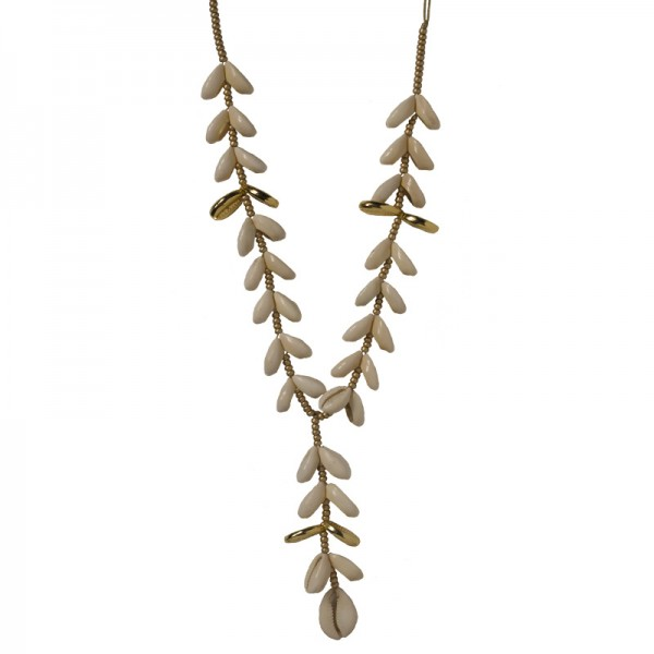 Jt Gold plated bronze necklace with white seashells