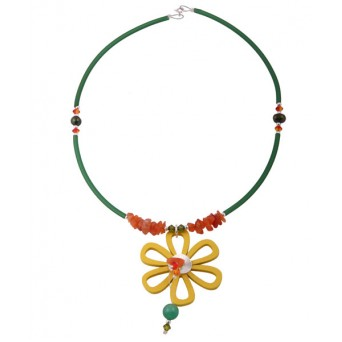 Jt Yellow wooden flower necklace with silver and gemstones