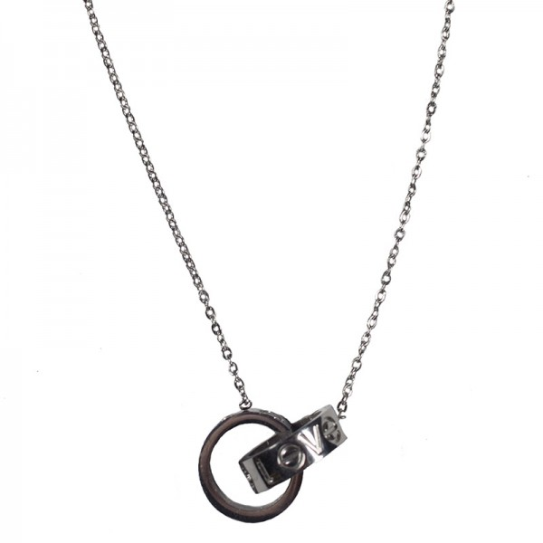 Jt Steel double circle necklace Love necklace style